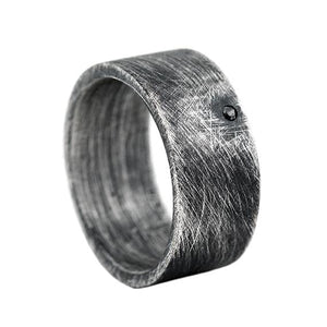 Mens Brushed Diamond Wedding Band Sterling Silver