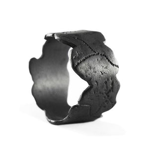 mens black silver ring