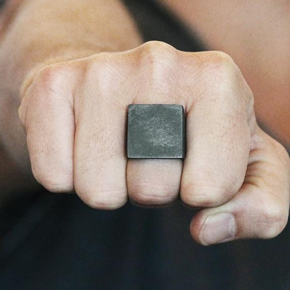 mens black silver square ring