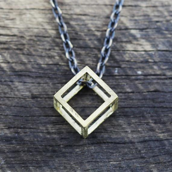 mens cube necklace
