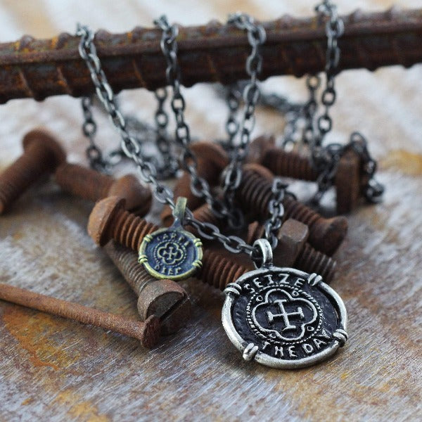 Mens Silver And Alloy Urban Coin Necklace With Inspirational Saying