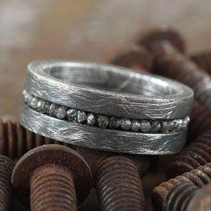 Grey Uncut Diamond Brushed Silver Mens Wedding Band Ring