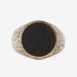 Brushed Bronze Signet Mens Rings