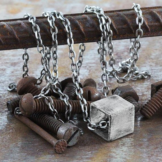 mens rustic cube necklace