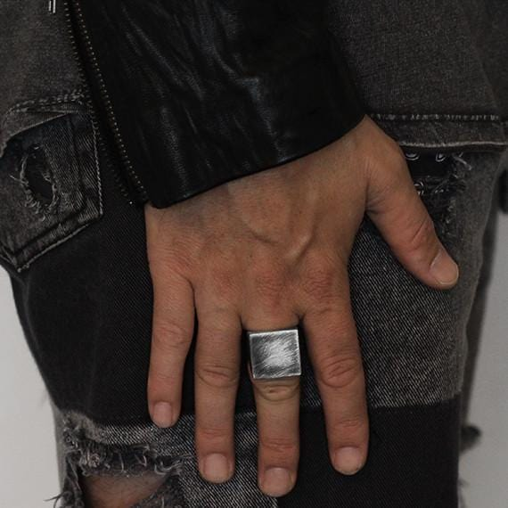 mens rustic silver ring