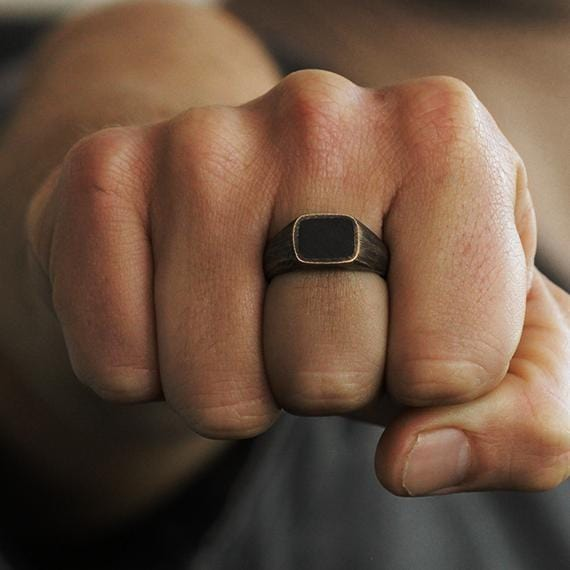 Mens Brushed Bronze Signet Rings