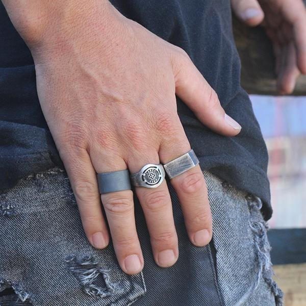 Men's Chunky Sterling Silver Engraved Signet Ring