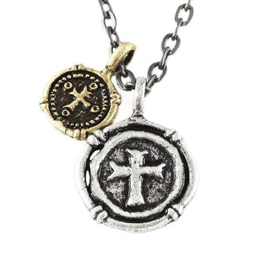 Carpe diem mens silver necklace rustic cross pendant aloadofball Images
