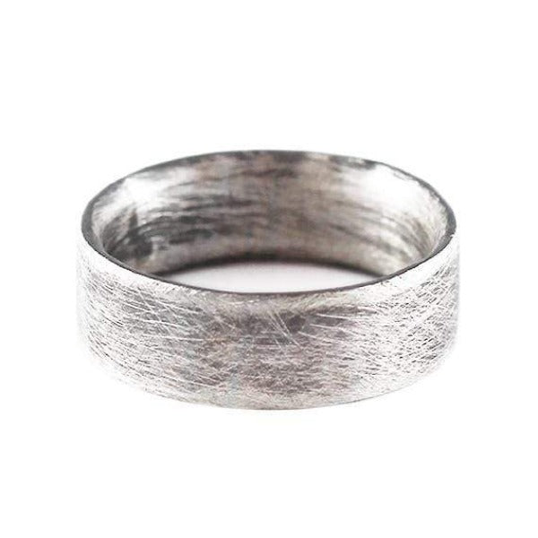 Men's Engraved Brushed Sterling Silver Plain Wedding Band