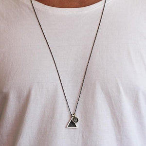 mens silver triangle necklace