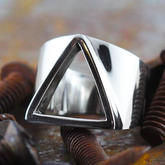 open triangle silver ring