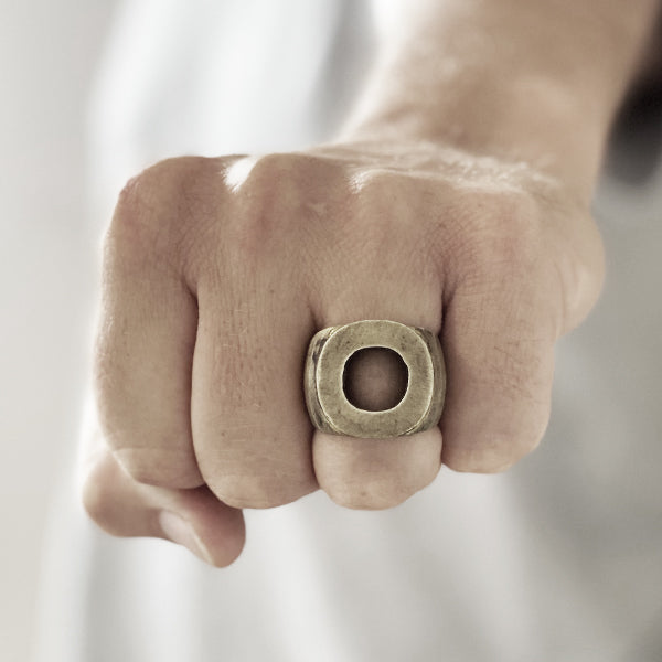 Men's Chunky Personalized Oxidized Gold Circle Ring