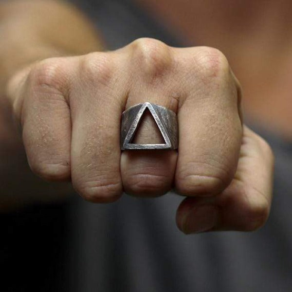 rustic geometric ring