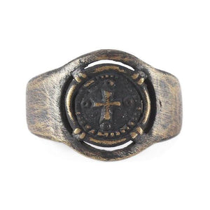 Brushed Bronze Cross Man Signet Ring