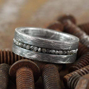 Black Uncut Diamond Brushed Silver Mens Wedding Band Ring