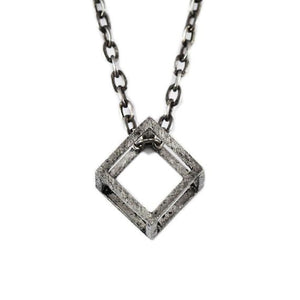 silver cube necklace