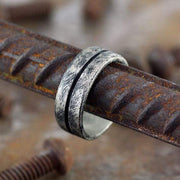 oxidized brushed silver men's line wedding day band