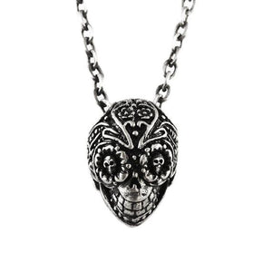 silver sugar skull necklace