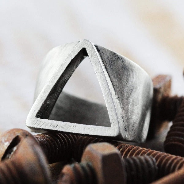Mens Chunky Oxidized Silver Statement Ring
