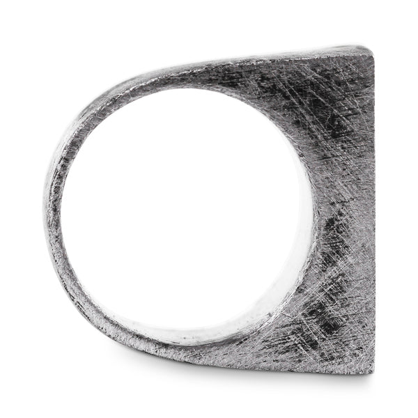 Silver Geometric Rectangle Mens Rings