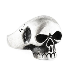 Oxidized Silver Skull Mens Rings