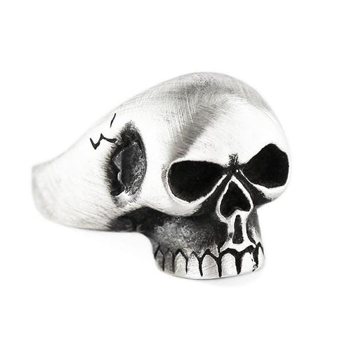 Carpe Diem Oxidized Silver Skull Mens Rings