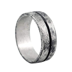Silver Mens Line Wedding Band