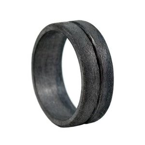 Black Mens Line Wedding Band