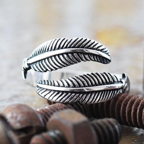 white gold feather ring