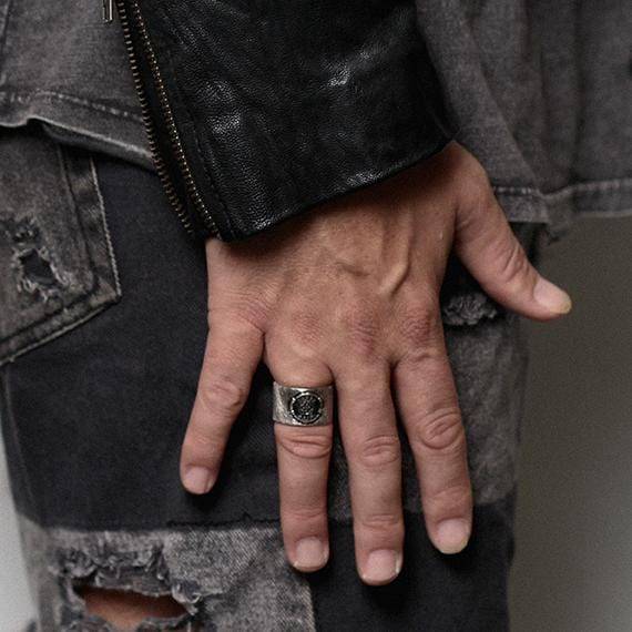 wide silver band mens ring