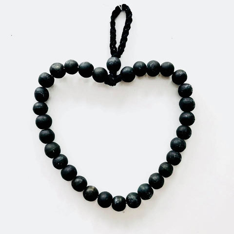 Heart Beaded Wall Hanger - Black