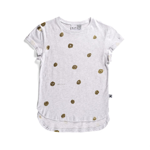 Happy Dots Drop Tee - White Marle