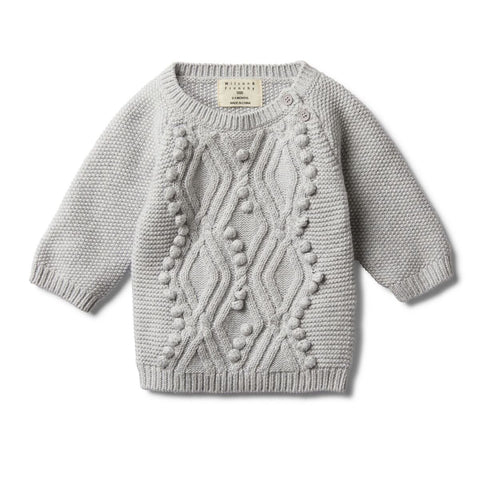 Grey Melange Cable Knitted Pom Pom Jumper