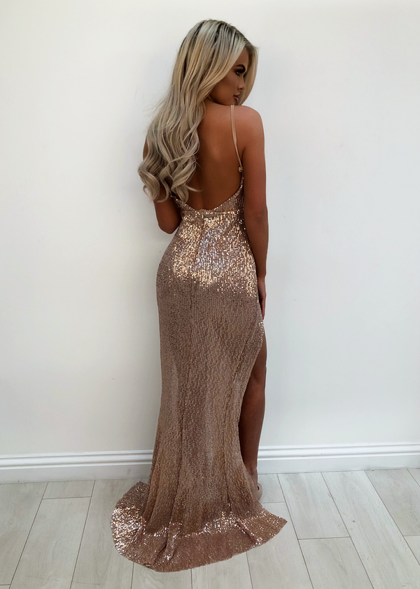 'Love Radar' Sequin Dress - Rose Gold S