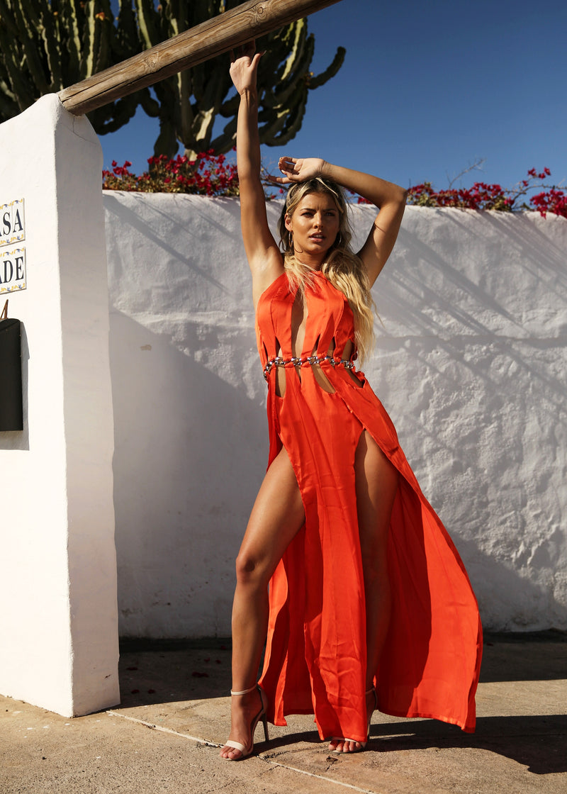 Dubai Nights Cut Out Maxi Dress - Orange Red