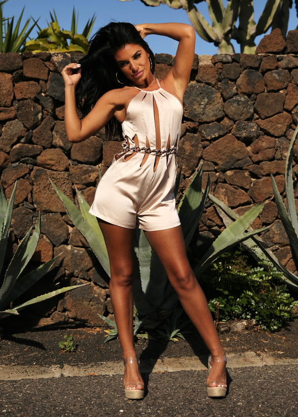 Shes a Keeper Cut Out Playsuit - Nude
