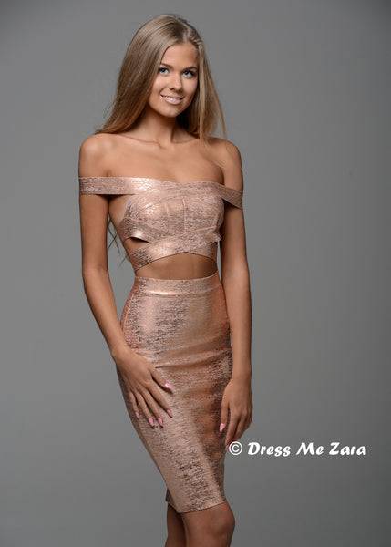 Lady Million Rose Gold Off Shoulder Bandage Crop Top