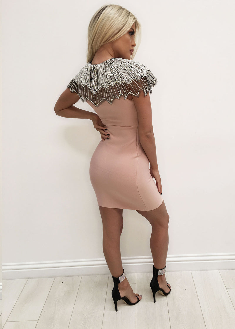 'Gatsby Goddess' Bandage Dress - Blush