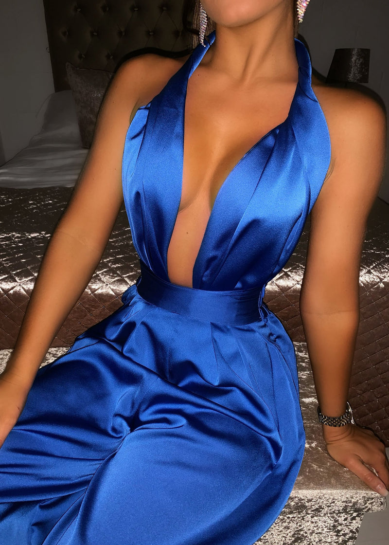 'Turn Up The Heat' Satin Two Piece - Cobalt Blue
