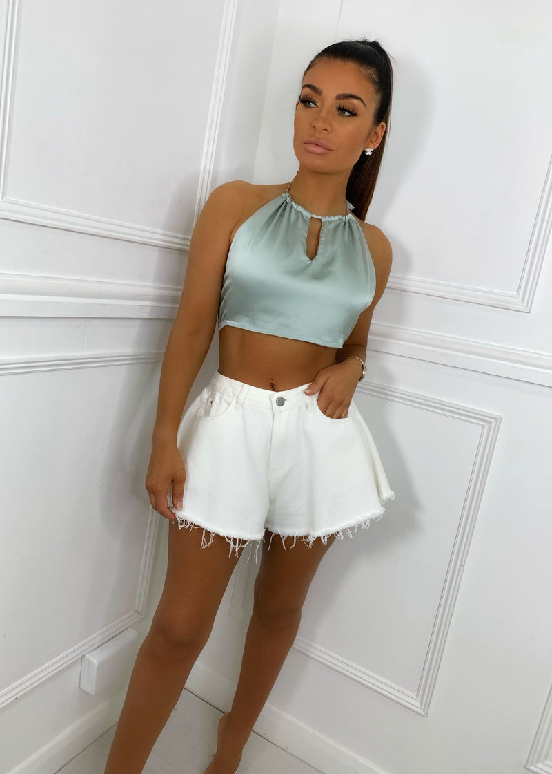 Come Back Satin Key Hole Crop Top - Sage