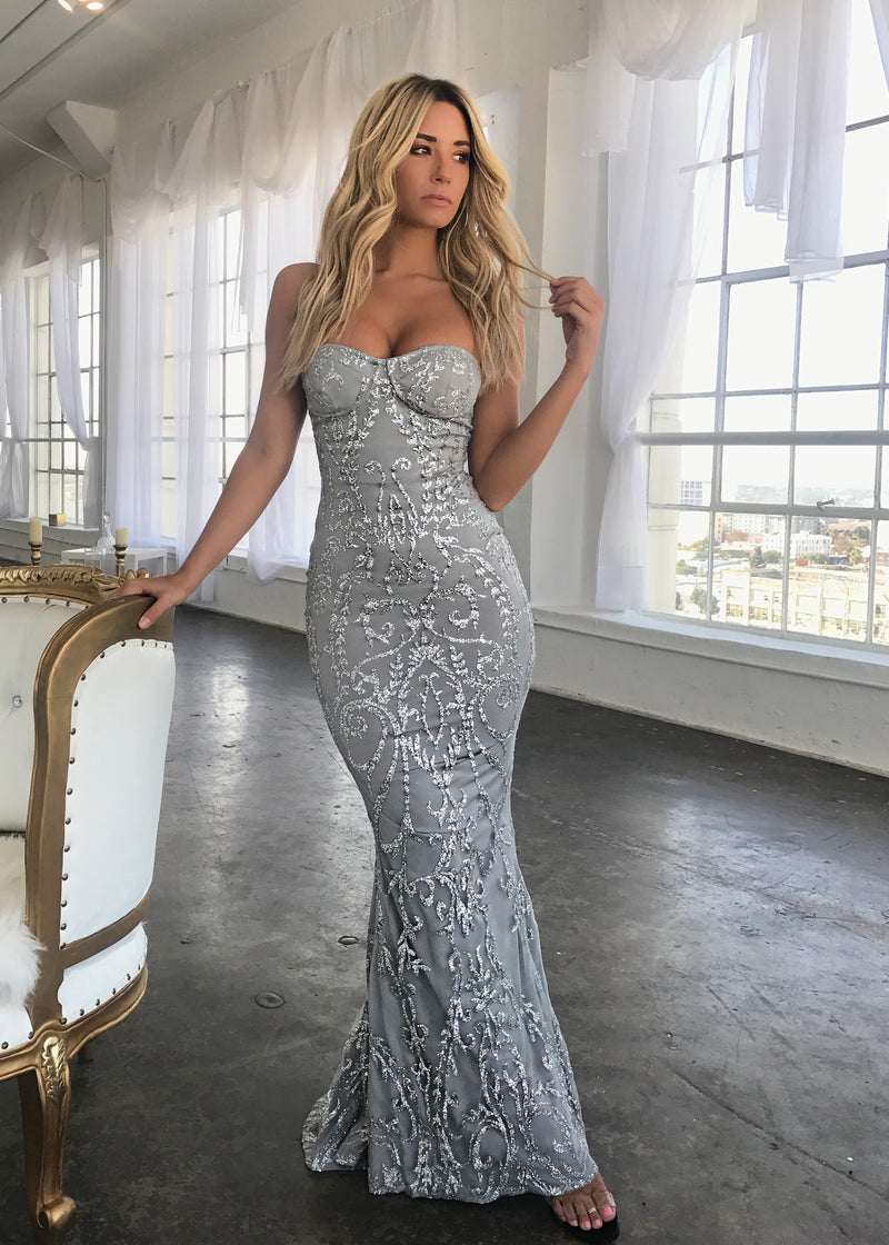 'Run the World' Glitter Mesh Gown - Silver
