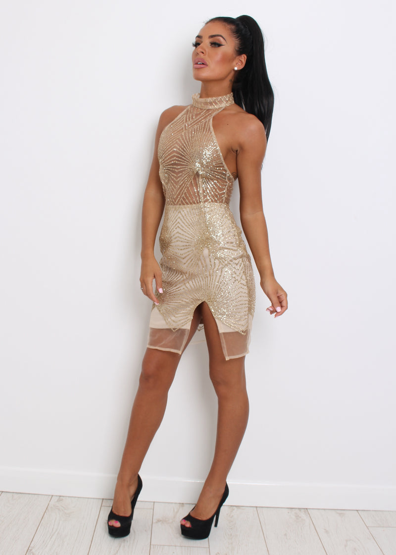 'Shine For You' Glitter Dress - Gold