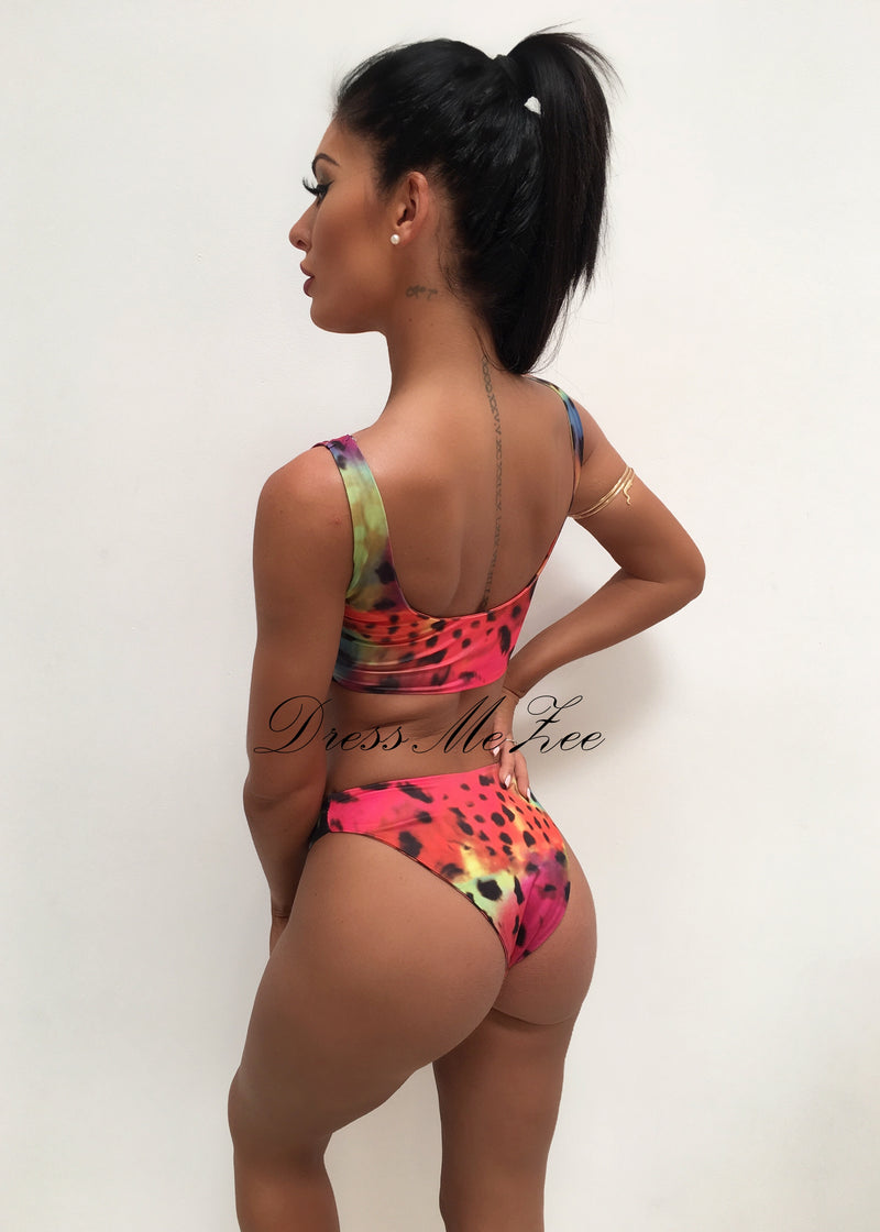 Rainbow Sunset Multicoloured Leopard Print Bikini L XL