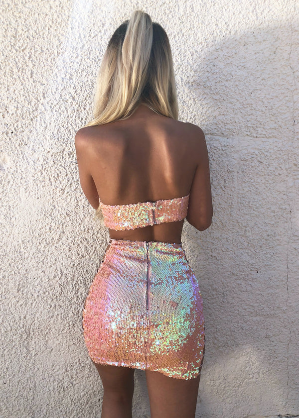 'Unicorn Tears' Sequin Two Piece - Peach