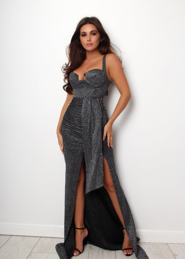 'Forever Flawless' Lurex Glitter Gown with Slit - Black
