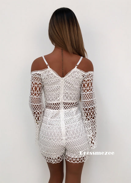 'Final Fantasy' Crochet Playsuit - White