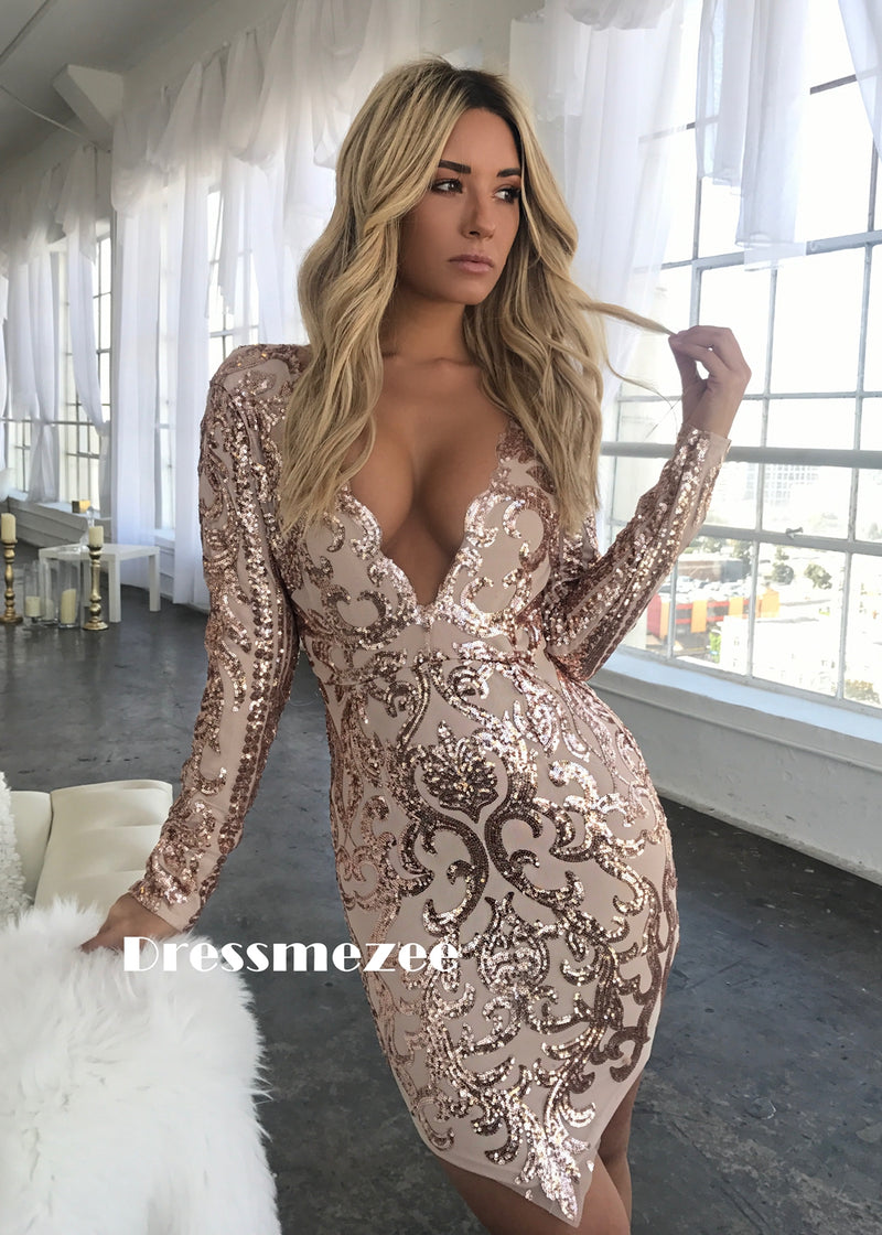 Camilla Sequin Dress - Rose Gold