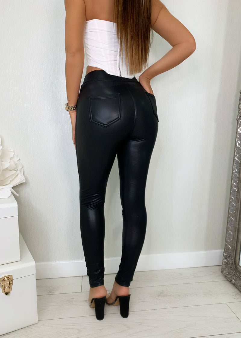 Business As Usual High Waisted PU Leggings With Pockets - Black