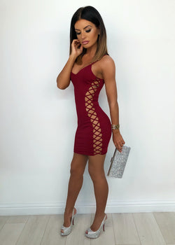 'Get Attached' Lace Up Bodycon Dress - Wine