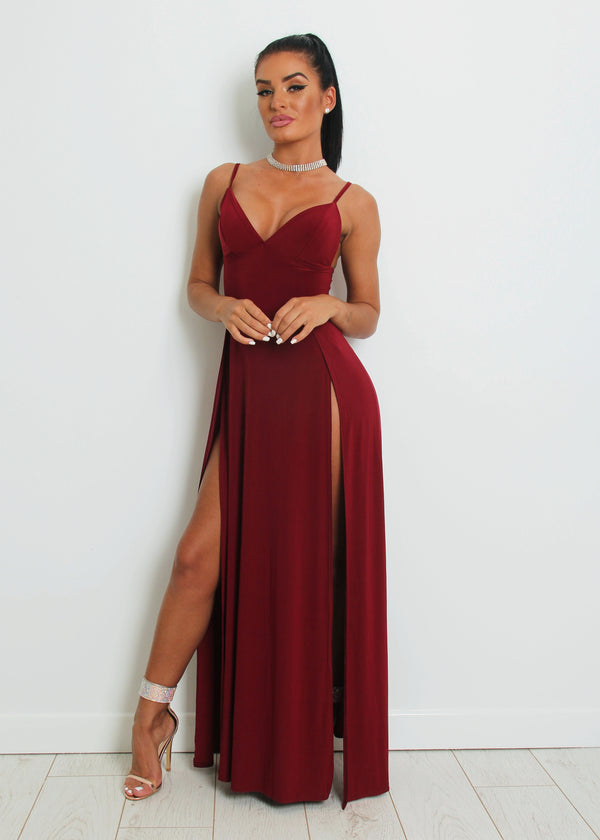 Cut A Figure Slinky Maxi Dress - Wine